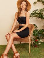 Bandeau Top & Bodycon Skirt Set SHEIN