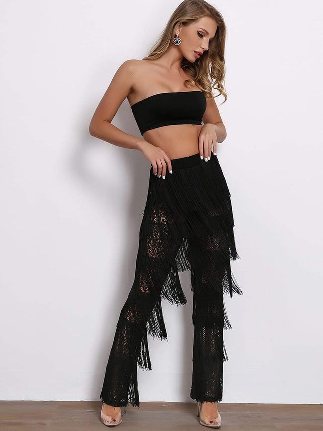 Bandeau Top & Fringe Lace Pants Set SHEIN S