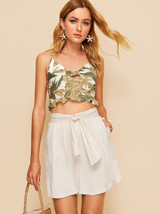 Belted Longline Shorts SHEIN S