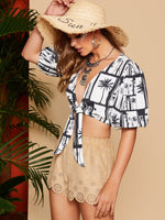 Bishop Sleeve Tropical Print Top SHEIN