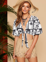Bishop Sleeve Tropical Print Top SHEIN XS
