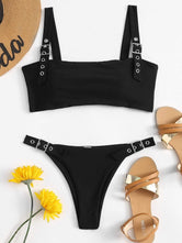 Buckle Top and High Leg Bikini Set