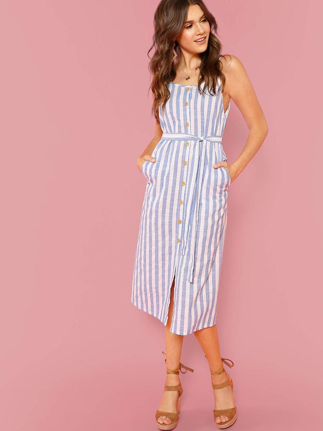 Button Front Cami Dress- Light Blue SHEIN