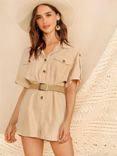Button Front Utility Romper