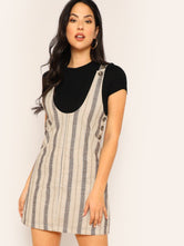 Buttoned Straps Striped Dress