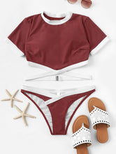 Contrast Trim Two Piece Bikini Set