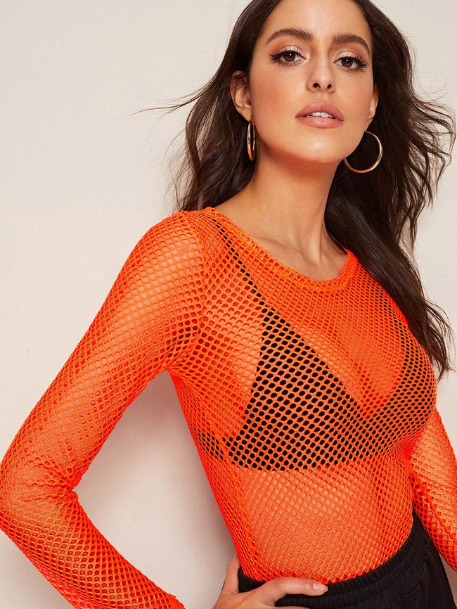Fishnet Neon Top SHEIN