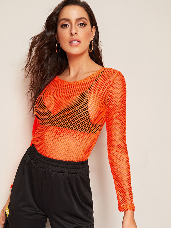 Fishnet Neon Top SHEIN XS Orange