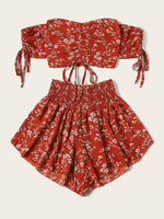 Floral Crop Top and Shorts Set SHEIN