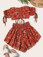 Floral Crop Top and Shorts Set SHEIN S