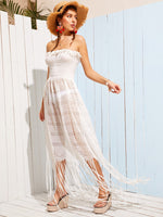 Fringe Strapless Dress
