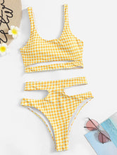 Gingham Cut-out High Waist Bikini