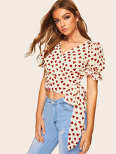 Heart Print Crop Blouse