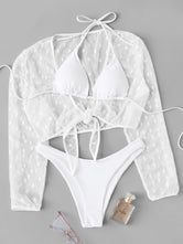 High Cut Bikini Set With Polka Dot Cover Up