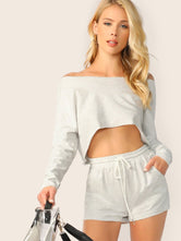 Knit Crop Top and Shorts Lounge Set