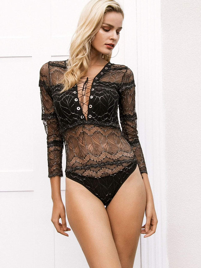Lace Up Plunge Neck Lace Bodysuit SHEIN