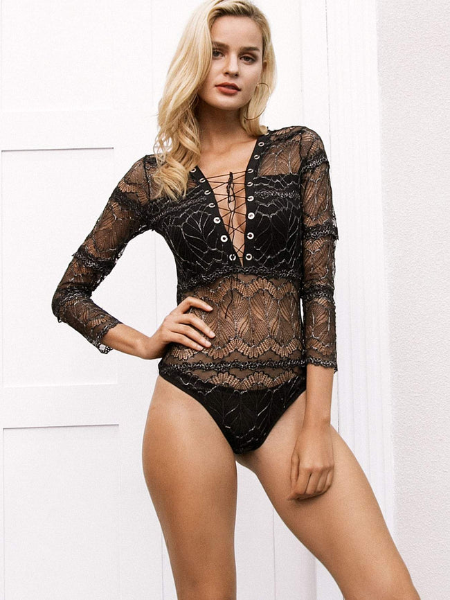 Lace Up Plunge Neck Lace Bodysuit SHEIN S