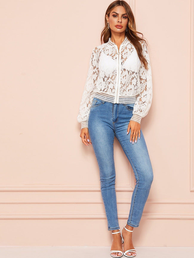 Lace Zip Up Jacket SHEIN