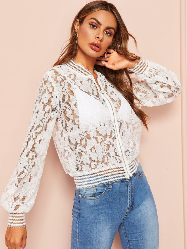 Lace Zip Up Jacket SHEIN S