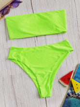 Neon Bandeau Top With High Waist Bikini Set