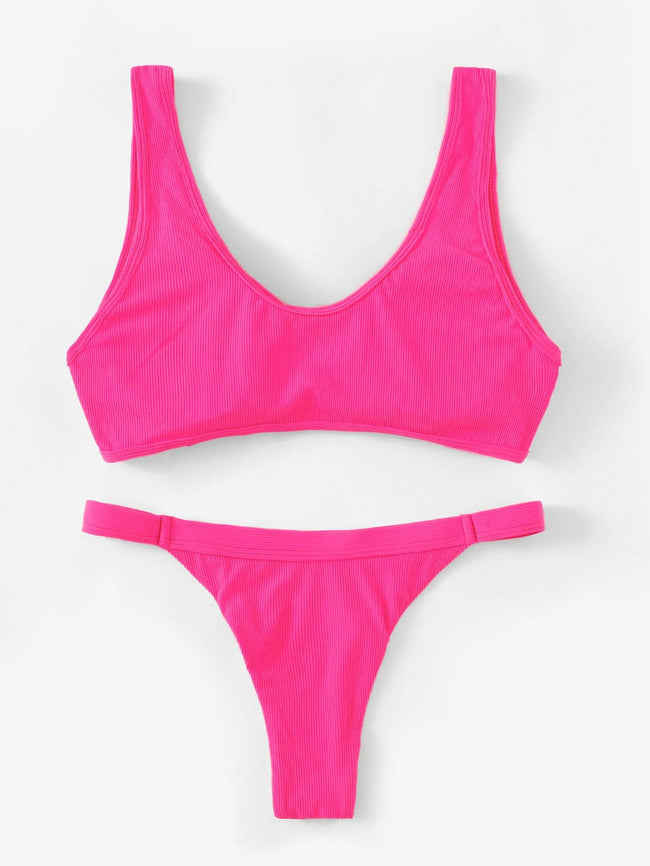 Neon Pink Cut-Out Top With Tanga Bikini Set SHEIN