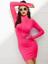 Neon Pink Sporty Bodycon Dress