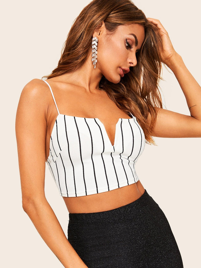 Notched Front Crop Cami SHEIN