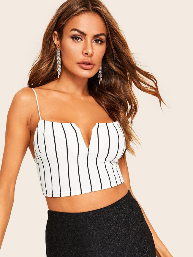 Notched Front Crop Cami SHEIN XS White