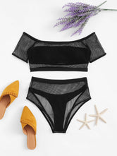 Off the Shoulder Fishnet Overlay Bikini Set
