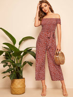 Off The Shoulder Floral Jumpsuit