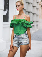 Off the Shoulder Ruffled Top SHEIN