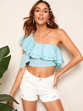 One Shoulder Ruffle Trim Crop Top