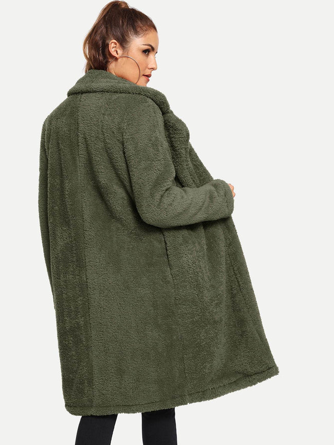 Open Front Teddy Coat- Olive SHEIN