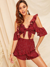 Open Shoulder Ruffle Top and Wrap Shorts Set