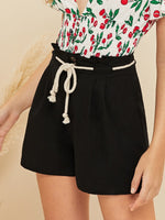 Paperbag Waist Shorts with Rope Belt SHEIN