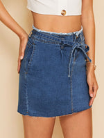 Raw Hem Denim Skirt SHEIN