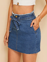 Raw Hem Denim Skirt SHEIN S