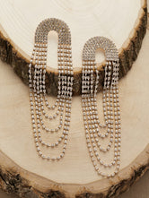 Rhinestone Tassel Looped Earrings