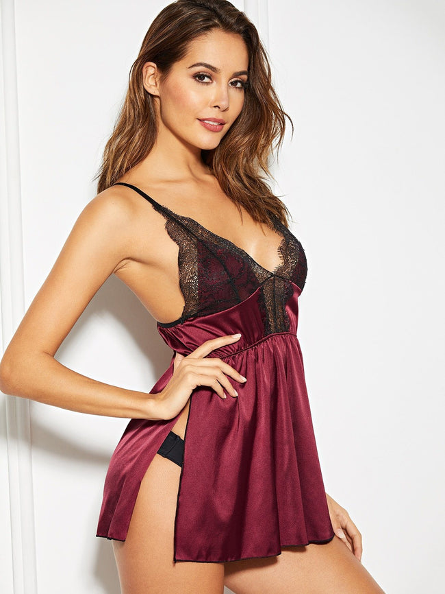 Satin Slip With Thong SHEIN