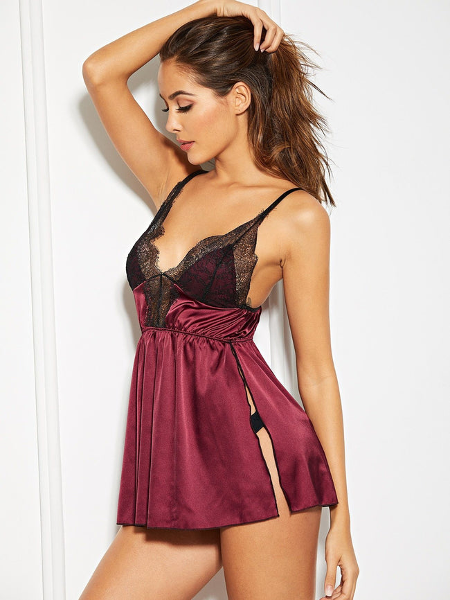 Satin Slip With Thong SHEIN S Burgundy