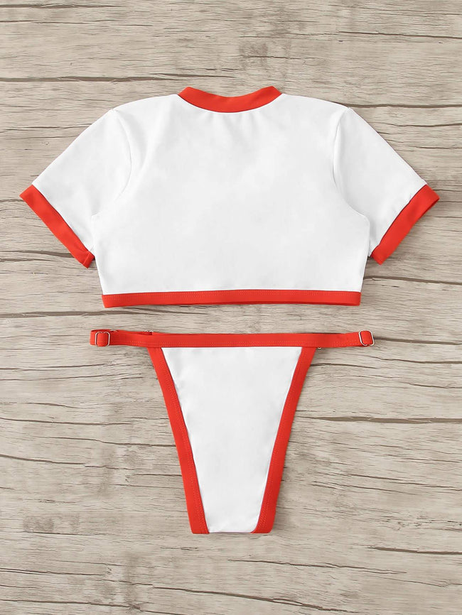 Short Sleeve Tanga Bottoms Bikini Set SHEIN