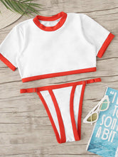 Short Sleeve Tanga Bottoms Bikini Set