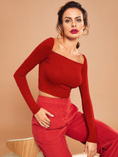 Square Neck Cropped Tee- Red