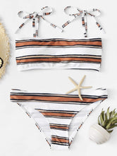 Striped Self Tie Top Bikini Set
