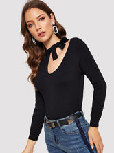 Tie Neck Cut Out Sweater