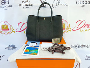 Authentic Hermes Garden paraty 36 in black noir Togo calfskin Palladium hardware