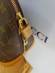 Authentic Louis Vuitton alma pm, monogram canvas vachetta leather