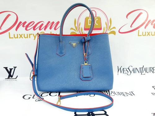 Authentic Prada saffiano cuir double in Bluette