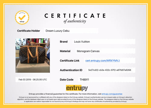 Louis Vuitton Certification of Authenticity