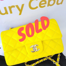 Load image into Gallery viewer, sold Authentic Chanel Mini Flap Caviar in Yellow